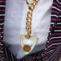 Mother of Pearl Buckle on Chunky Gold Chain