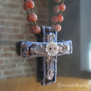 Lacy Belt Loop Cross & Coral Beads Necklace