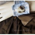 Distressed Denim and Fur Button