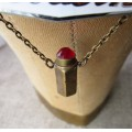 Vintage Lipstick Charm Necklace
